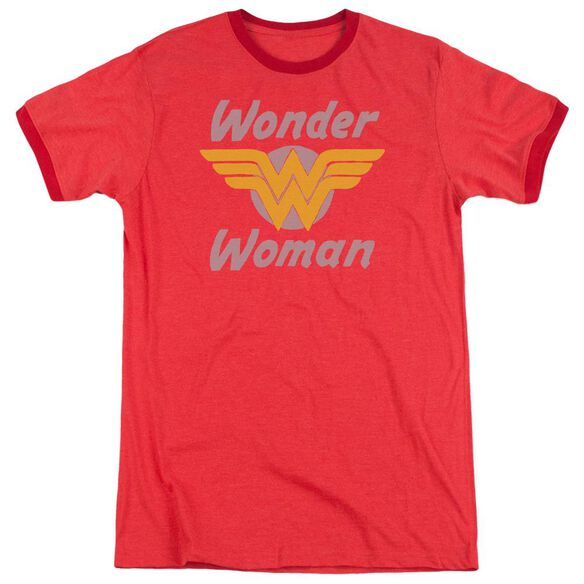 Dc Wonder Wings Adult Heather Ringer Red