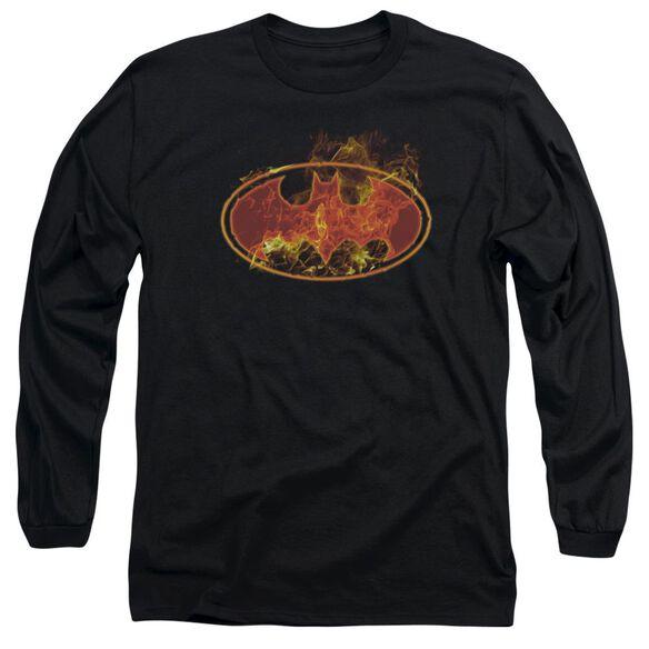 BATMAN FLAMES LOGO - L/S ADULT 18/1 - BLACK T-Shirt
