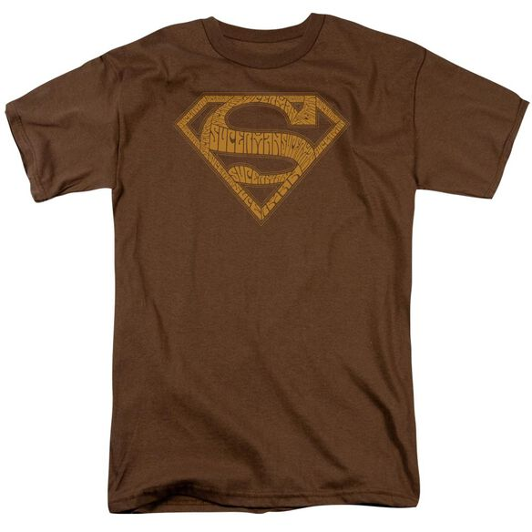 Superman 60s Type Shield Short Sleeve Adult Coffee T-Shirt