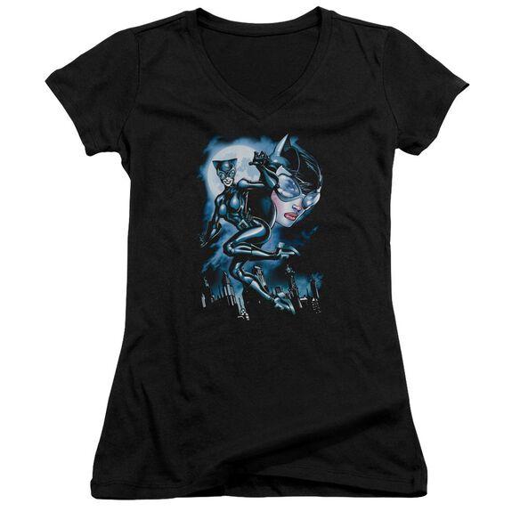 Batman Moonlight Cat Junior V Neck T-Shirt