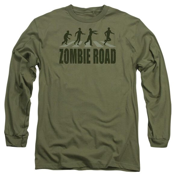 Zombie Road Long Sleeve Adult Military T-Shirt