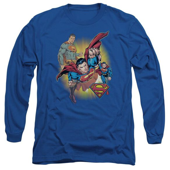 Jla Superman Collage Long Sleeve Adult Royal T-Shirt