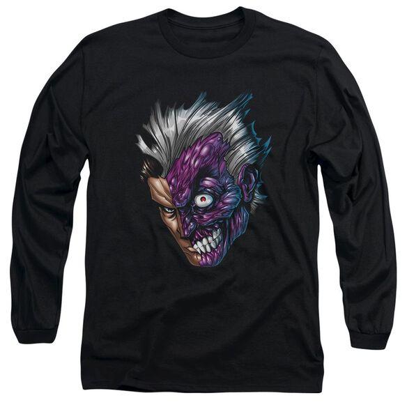 Batman Just Face Long Sleeve Adult T-Shirt