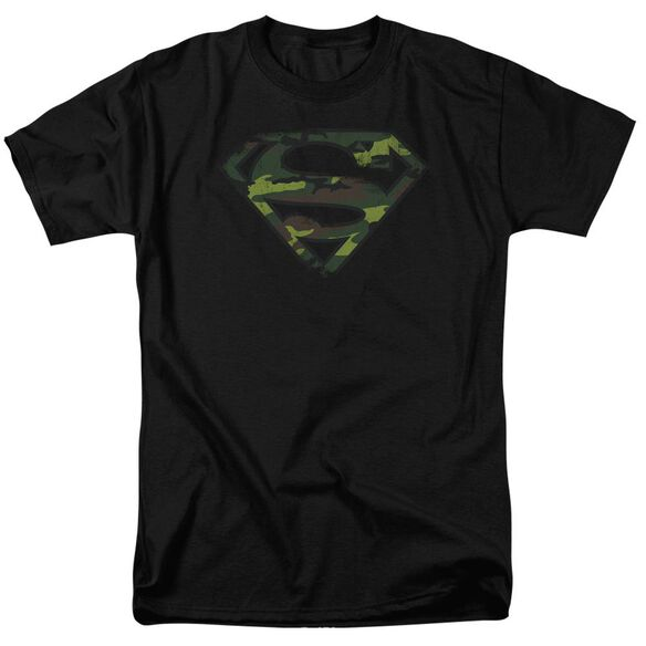 Superman Distressed Camo Shield Short Sleeve Adult T-Shirt