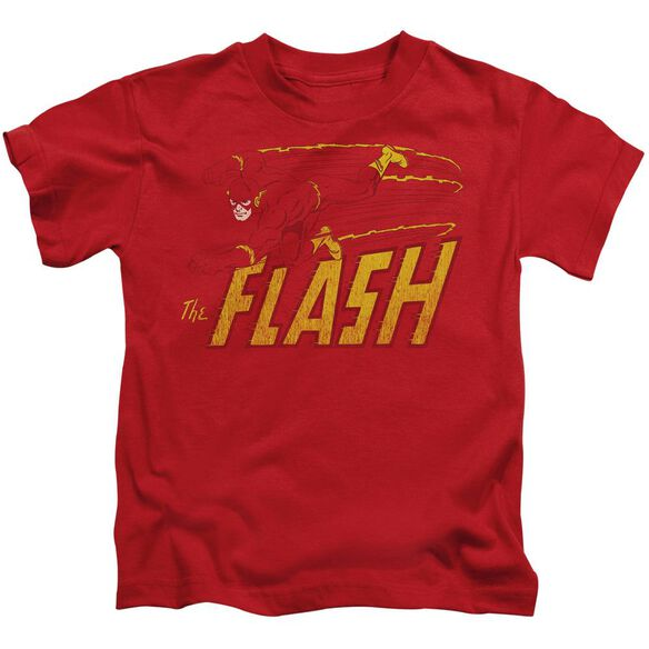 Dc Flash Speed Distressed Short Sleeve Juvenile Red T-Shirt