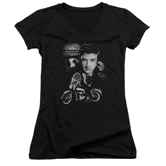 Elvis Presley The King Rides Again - Junior V-neck - Black