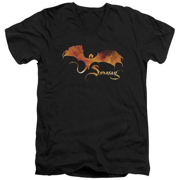Hobbit Smaug On Fire Short Sleeve Adult V Neck T-Shirt