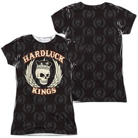 Hardluck Kings Pattern (Front Back Print) Short Sleeve Junior Poly Crew T-Shirt