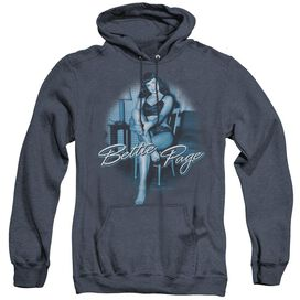 BETTIE PAGE PATIENT PIN UP - ADULT HEATHER HOODIE - NAVY
