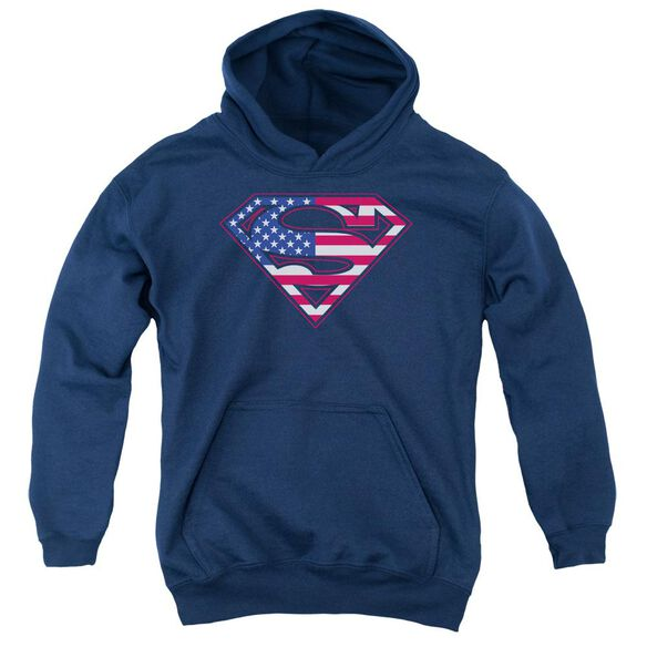 Superman U S Shield Youth Pull Over Hoodie