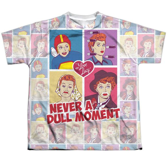 I Love Lucy All Over Panels Short Sleeve Youth Poly Crew T-Shirt