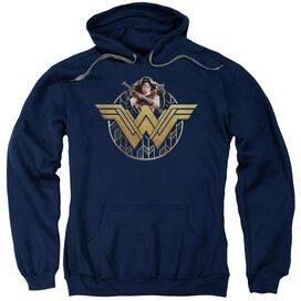 Wonder Woman Movie Power Stance And Emblem Adult Pull Over Hoodie