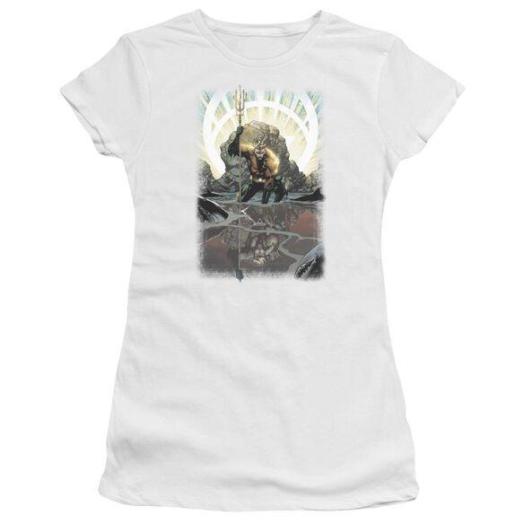 Jla Brightest Day Aquaman Short Sleeve Junior Sheer T-Shirt