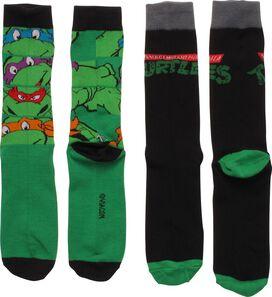 Ninja Turtles Faces Logo 2 Pair Crew Socks Set