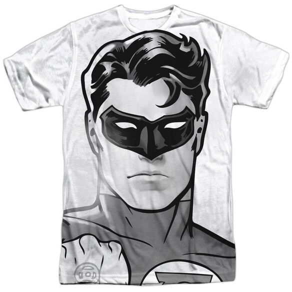 Green Lantern Bw Gl Head Short Sleeve Adult Poly Crew T-Shirt