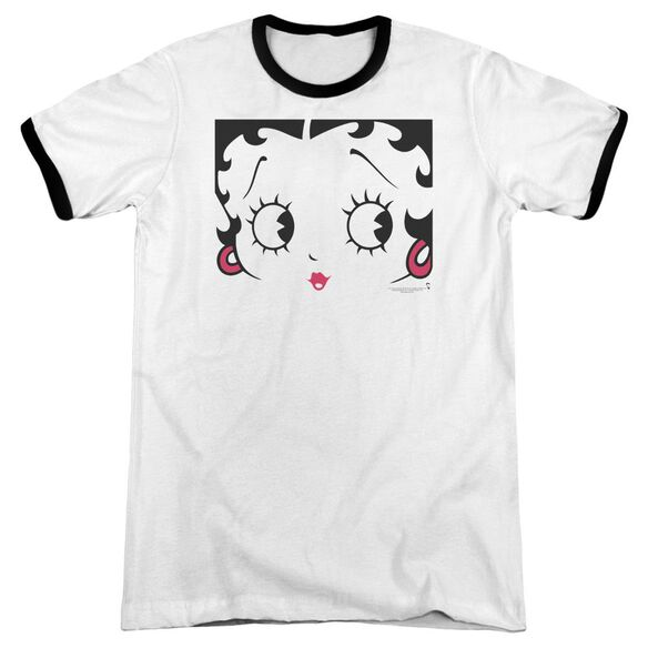 Betty Boop Close Up Adult Ringer White Black