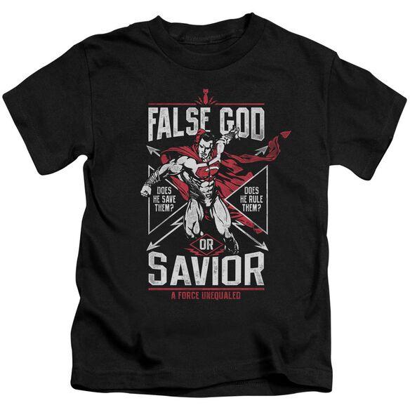 Batman V Superman False God Or Savior Short Sleeve Juvenile Black T-Shirt