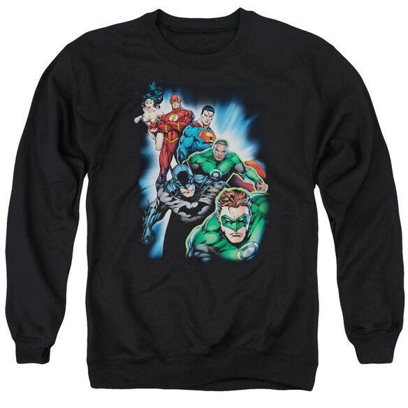 Jla Heroes Unite Adult Crewneck Sweatshirt