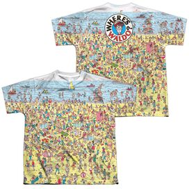 Wheres Waldo Beach Scene (Front Back Print) Short Sleeve Youth Poly Crew T-Shirt