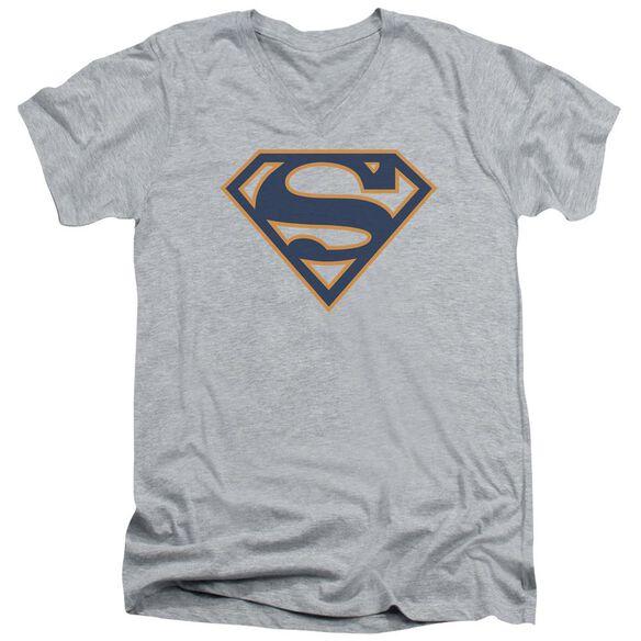 Superman Navy & Orange Shield Short Sleeve Adult V Neck Athletic T-Shirt