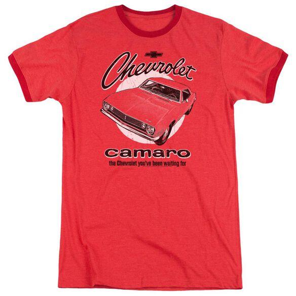 Chevrolet Retro Camaro Adult Heather Ringer Red