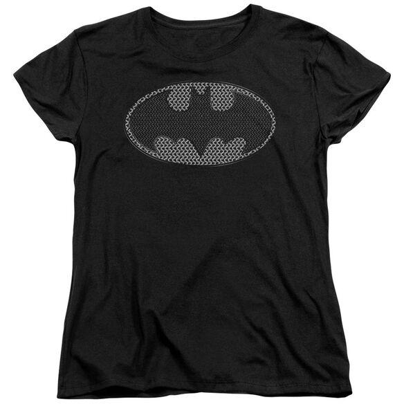 BATMAN CHAINMAIL SHIELD - S/S WOMENS TEE - BLACK T-Shirt