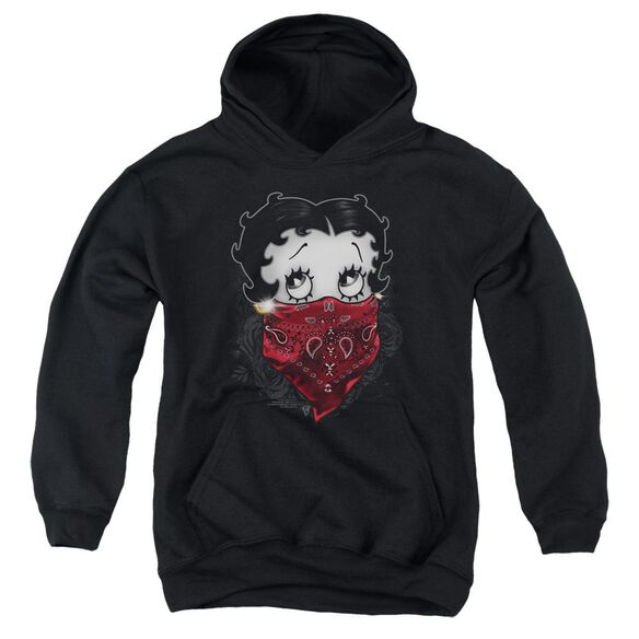 Betty Boop Bandana & Roses Youth Pull Over Hoodie