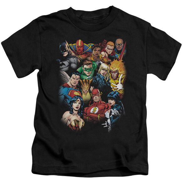 Jla The League's All Here Short Sleeve Juvenile Black Md T-Shirt