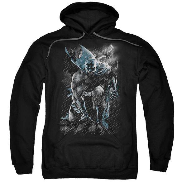 Batman In The Rain Adult Pull Over Hoodie