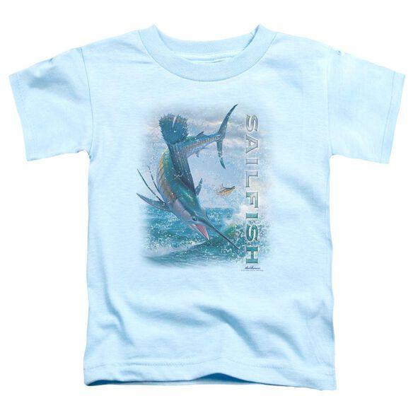 Wildlife Leaping Sailfish Short Sleeve Toddler Tee Light Blue T-Shirt