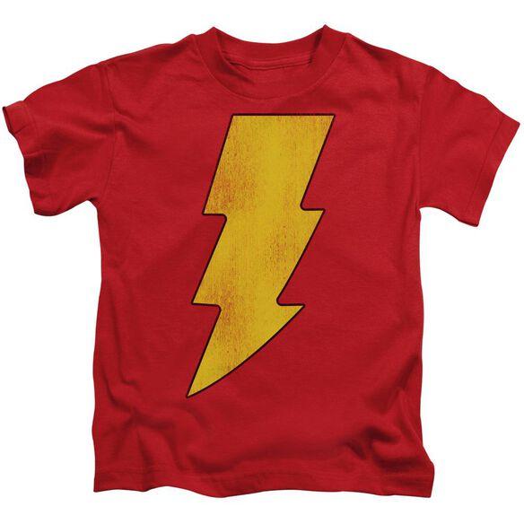 Dc Shazam Logo Distressed Short Sleeve Juvenile Red T-Shirt