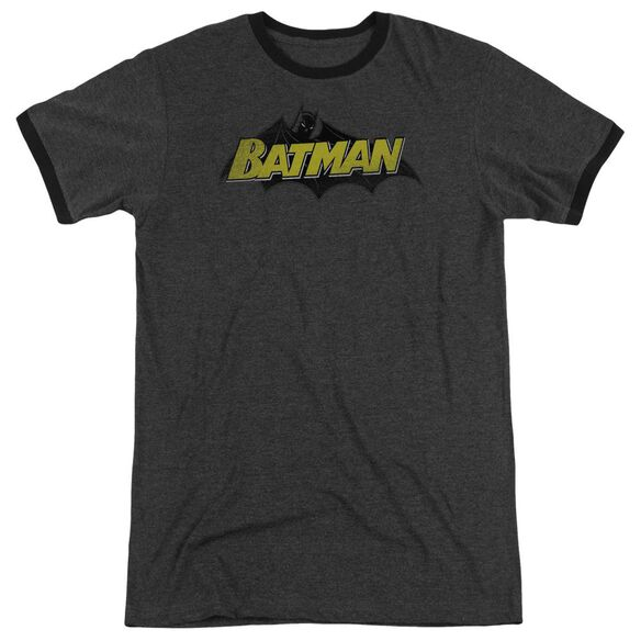 Batman Classic Comic Logo Adult Heather Ringer Charcoal