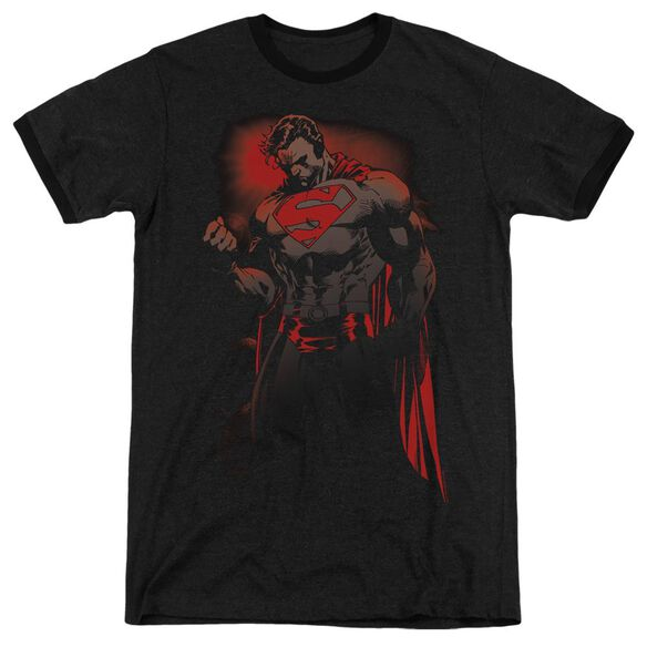 Superman Red Son - Adult Heather Ringer - Black