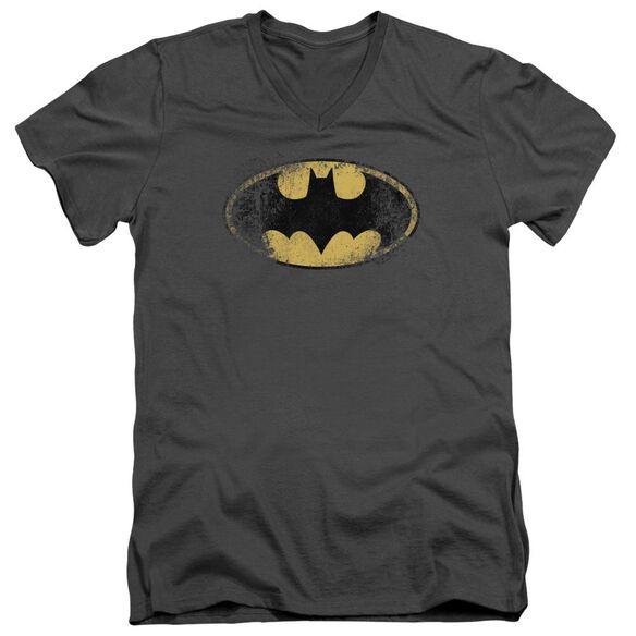 Batman Destroyed Logo Short Sleeve Adult V Neck T-Shirt