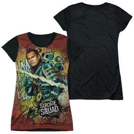 Suicide Squad Slipknot Psychedelic Cartoon Short Sleeve Junior Poly Black Back T-Shirt