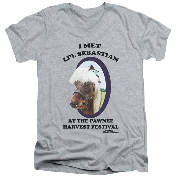 Parks And Rec Lil Sebastian Short Sleeve Adult V Neck Athletic T-Shirt