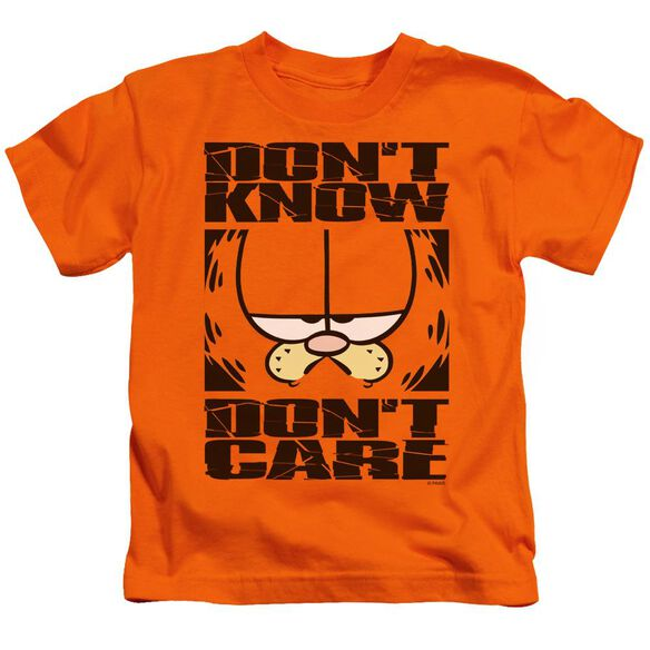 Garfield Don't Know Don't Care Short Sleeve Juvenile Orange T-Shirt
