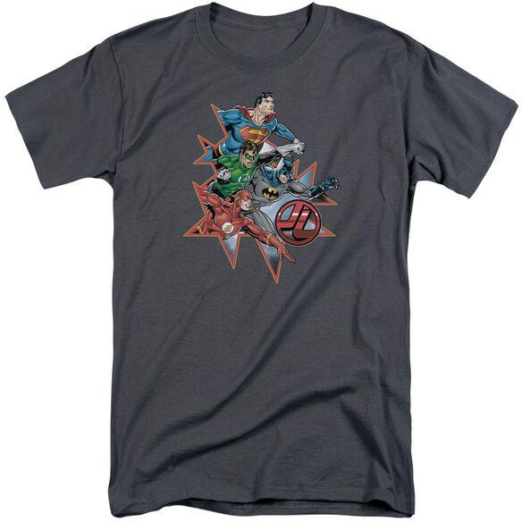 Jla Starburst Short Sleeve Adult Tall T-Shirt