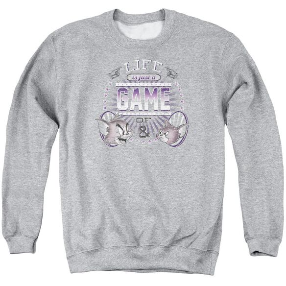 Tom And Jerry Life Is A Game Adult Crewneck Sweatshirt Athletic