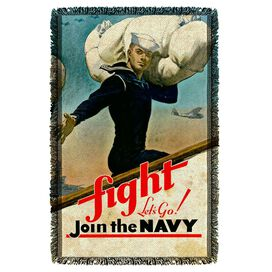Navy Fight Lets Go Woven Throw