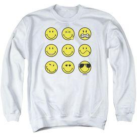 Smiley World Nine Faces Adult Crewneck Sweatshirt
