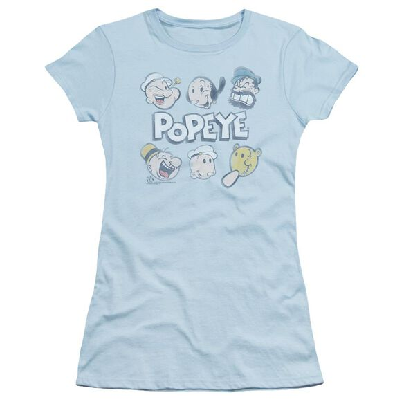 Popeye Heads Up Short Sleeve Junior Sheer Light T-Shirt