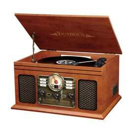 Victrola 6-in-1 Nostalgic Bluetooth Record Player with 3-speed Turntable [Mahogany]