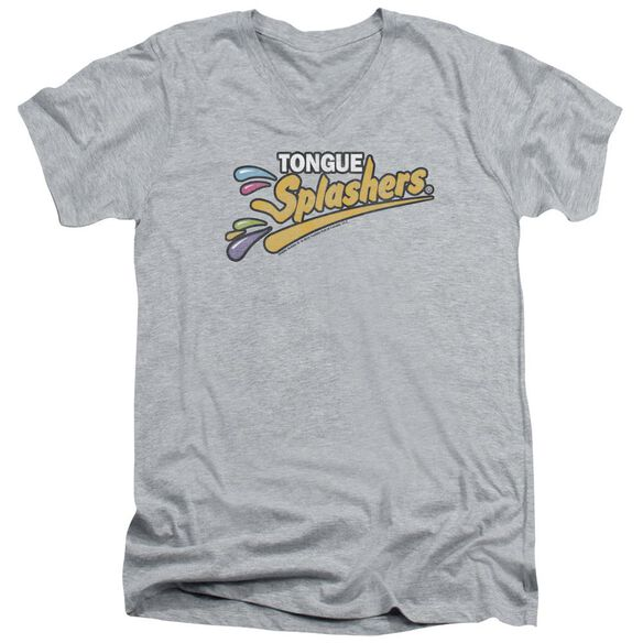 Dubble Bubble Tongue Splashers Logo Short Sleeve Adult V Neck Athletic T-Shirt