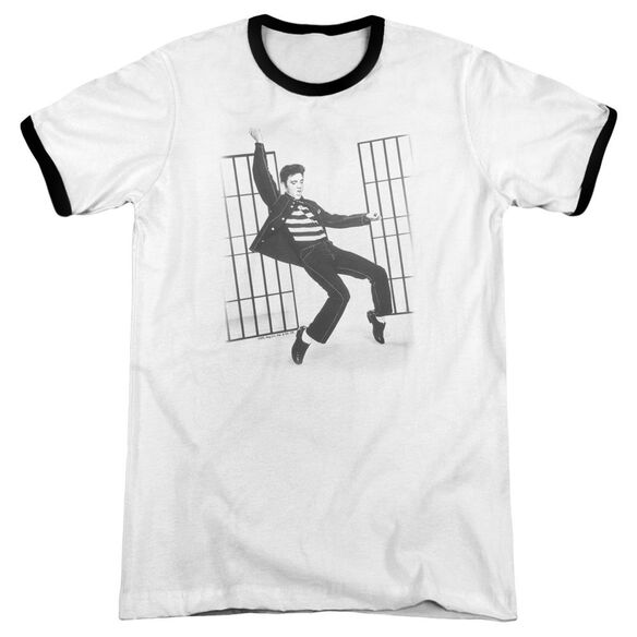 Elvis Jailhouse Rock Adult Ringer White Black
