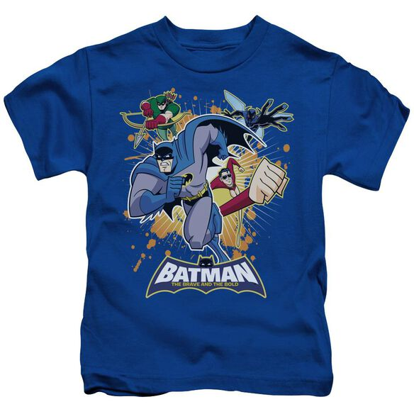 Batman Bb Burst Into Action Short Sleeve Juvenile Royal Blue Md T-Shirt