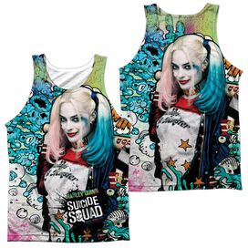 Suicide Squad Harley Psychedelic Cartoon (Front Back Print) Adult Poly Tank Top