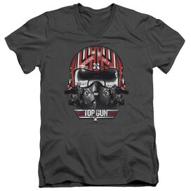TOP GUN GOOSE HELMET - S/S ADULT V-NECK - CHARCOAL T-Shirt