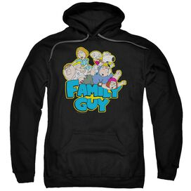 Family Guy Family Fight Adult Pull Over Hoodie Black