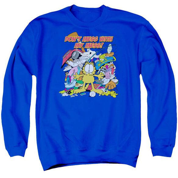 Garfield My Mess Adult Crewneck Sweatshirt Royal